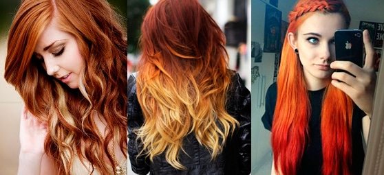 На рыжие волосы Омбрe